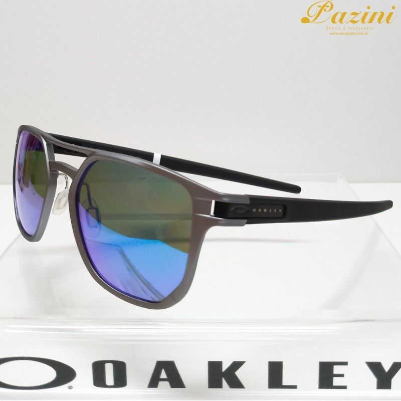 Óculos de Sol Oakley Latch Alpha Matte Light Gunmetal Prizm Sapphire Polarized